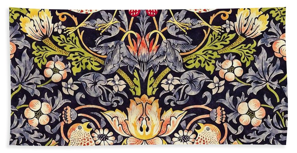 William Morris Bath Towel featuring the painting Strawberry Thief by William Morris