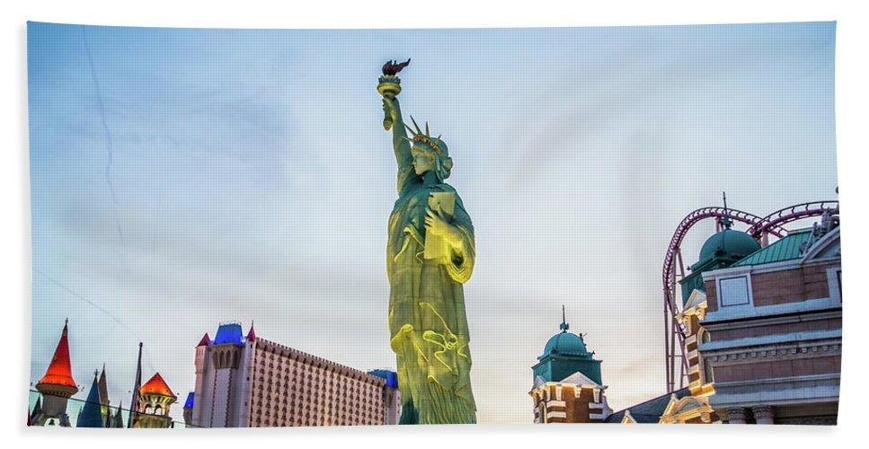 Illumination Bath Sheet featuring the photograph Street Scenes Around Las Vegas Nevada At Dusk by Alex Grichenko