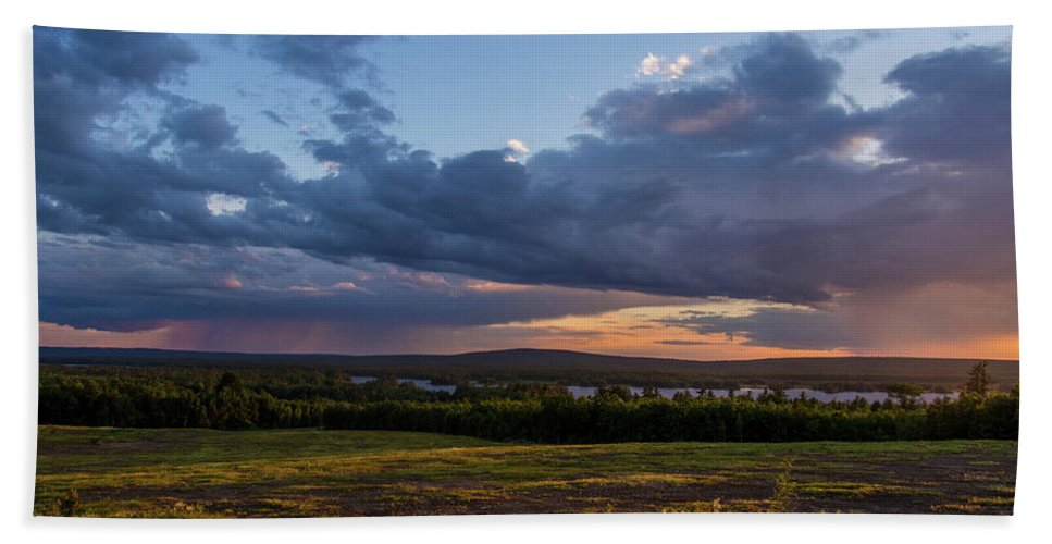 Maine Hand Towel featuring the photograph Sunset Down East Maine by Trace Kittrell