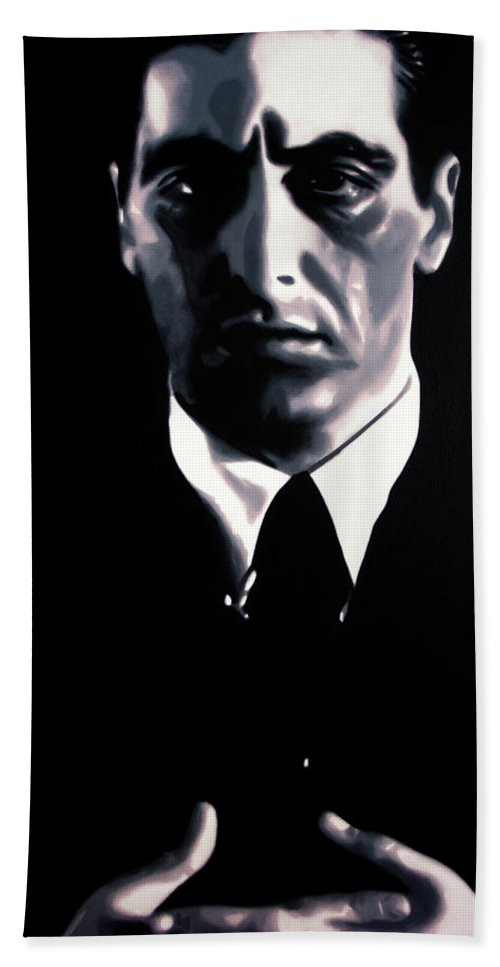 Ludzska Bath Sheet featuring the painting The Godfather by Hood alias Ludzska