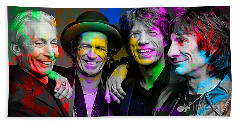 Rolling Digital Art Hand Towel featuring the digital art The Rolling Stones by Marvin Blaine