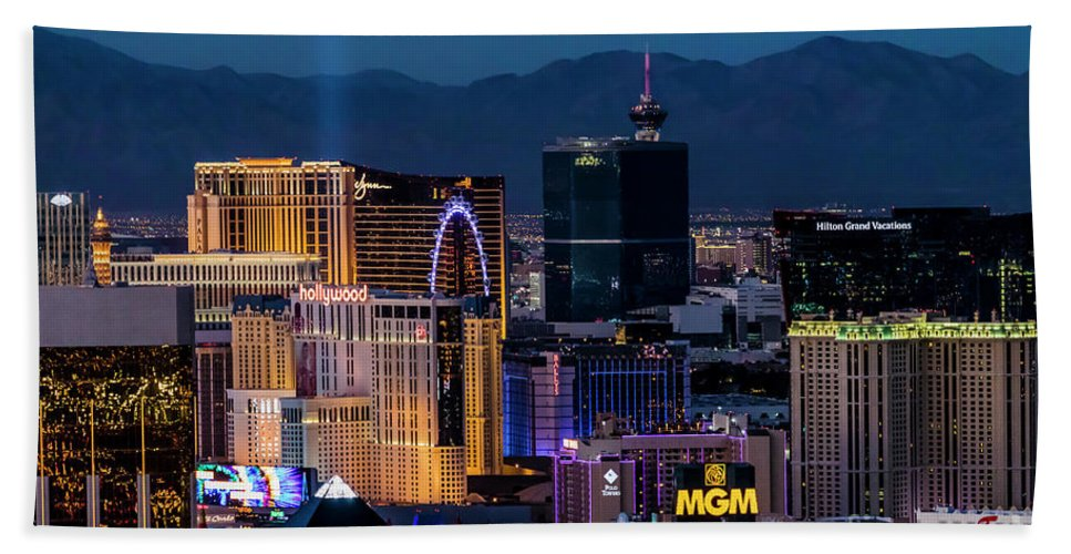 Las Vegas Hand Towel featuring the photograph the Strip at night, Las Vegas by Sv