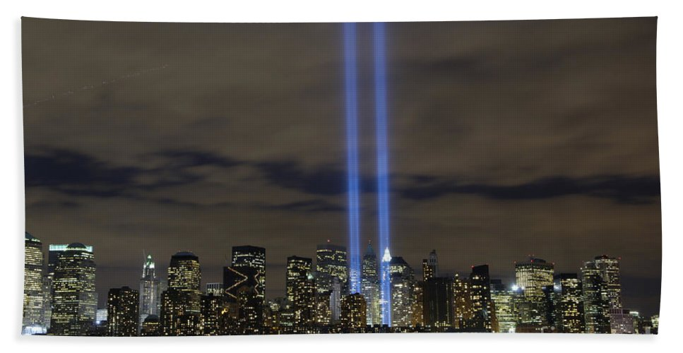 Memorial Hand Towel featuring the photograph The Tribute In Light Memorial by Stocktrek Images