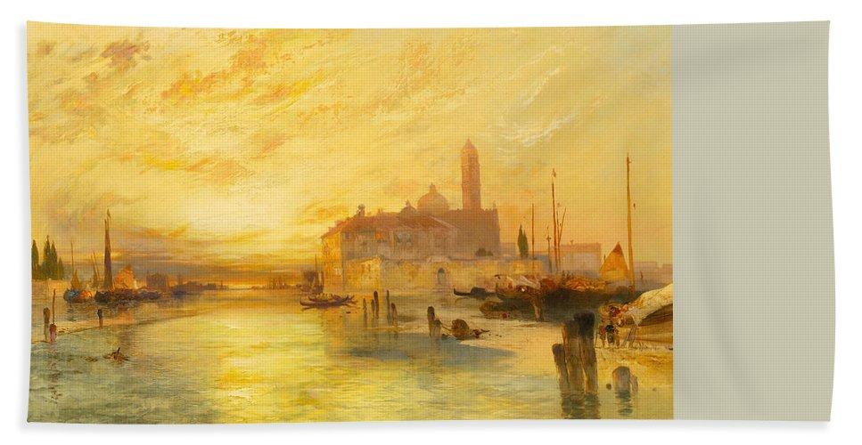 Moran Bath Towel featuring the painting Venice by Thomas Moran