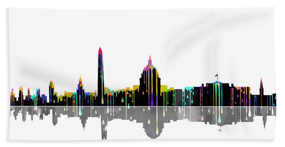 Washington Dc Skyline Bath Sheet featuring the digital art Washington Dc Skyline by Marlene Watson
