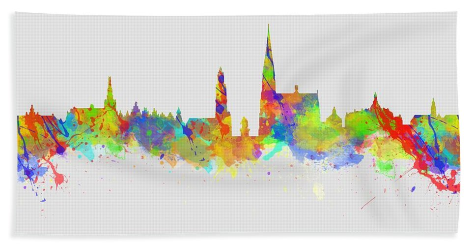 Antwerp Bath Towel featuring the photograph Watercolor Art Print Of The Skyline Of Antwerp In Belgium by Chris Smith