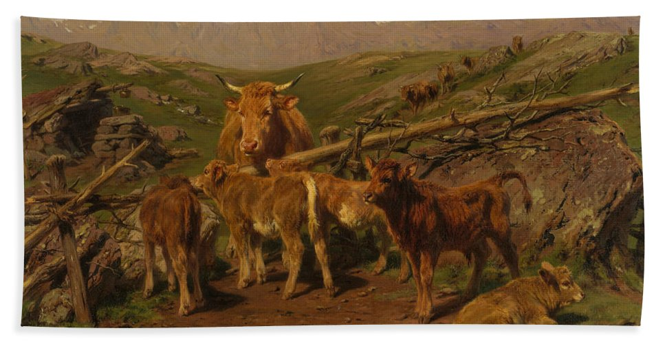19th Century Art Bath Sheet featuring the painting Weaning The Calves by Rosa Bonheur