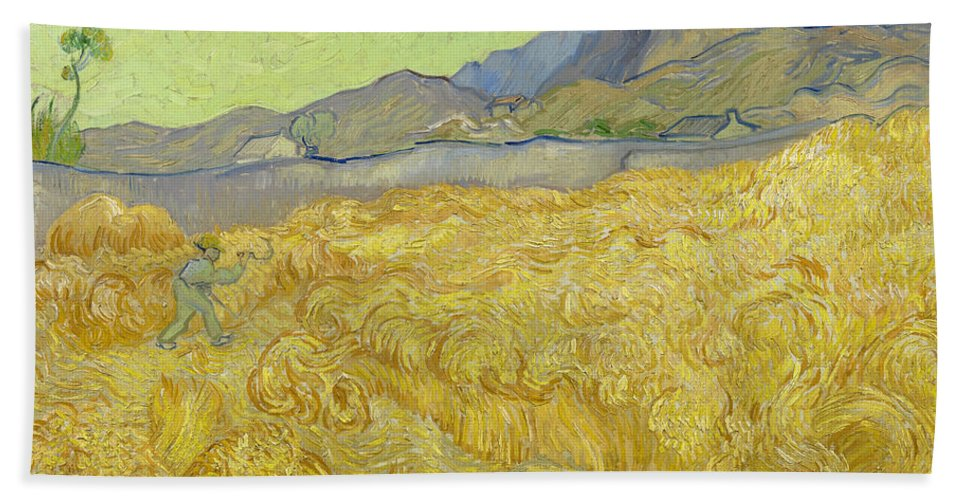 Country Hand Towel featuring the painting Wheatfield With A Reaper by Vincent van Gogh
