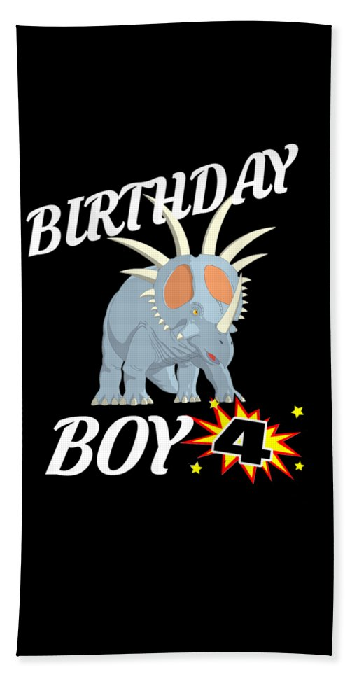 Birthday-boy Hand Towel featuring the digital art 4 Years Old Birthday Design Dinosuar Shirt by Funny4You