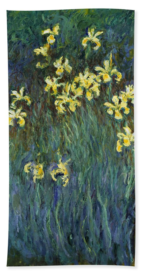 Claude Monet Hand Towel featuring the painting Yellow Irises by Claude Monet