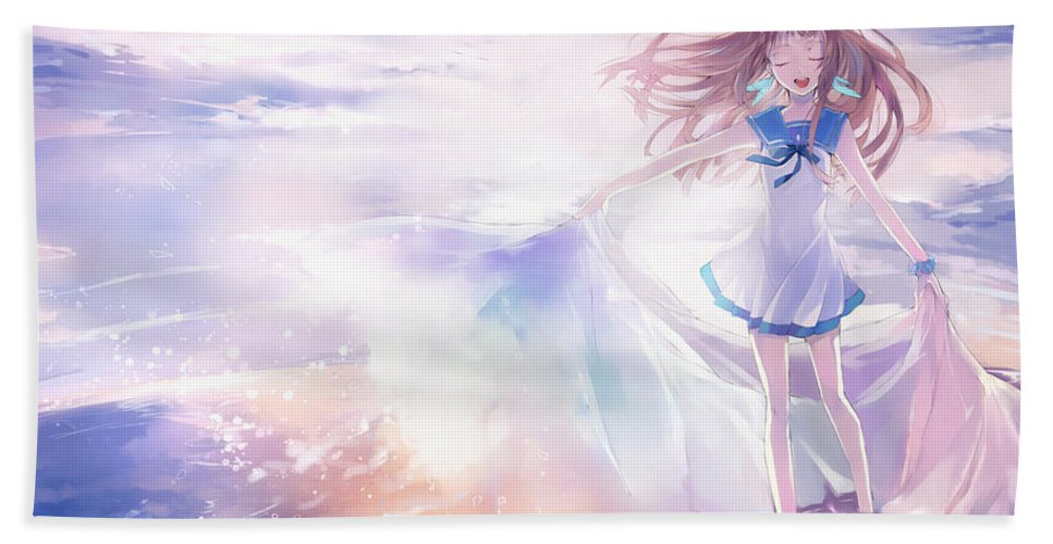 3 Nagi No Asukara Hand Towel featuring the digital art 43309 Nagi No Asukara by Mery Moon