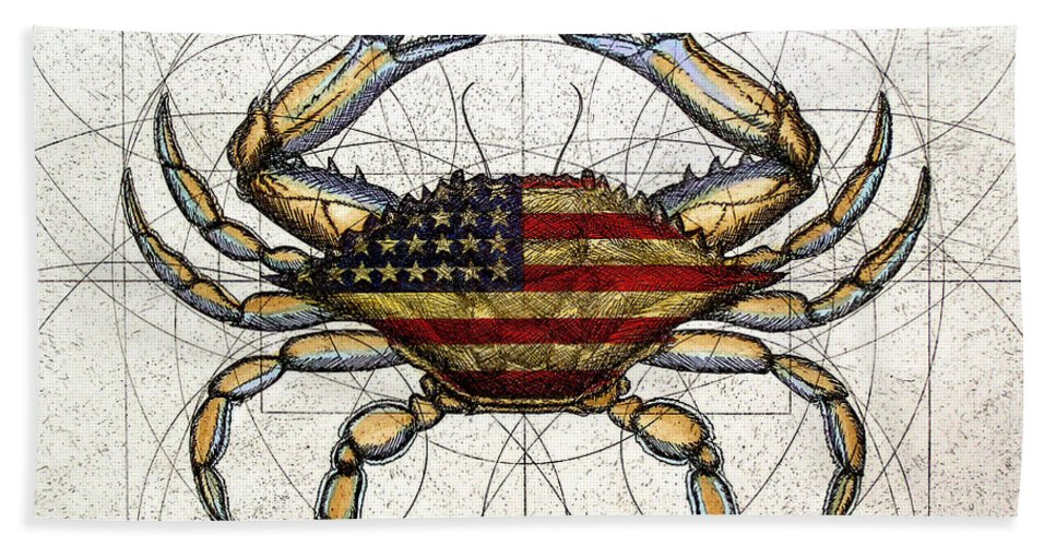Charles Harden Hand Towel featuring the mixed media 4th Of July Crab by Charles Harden