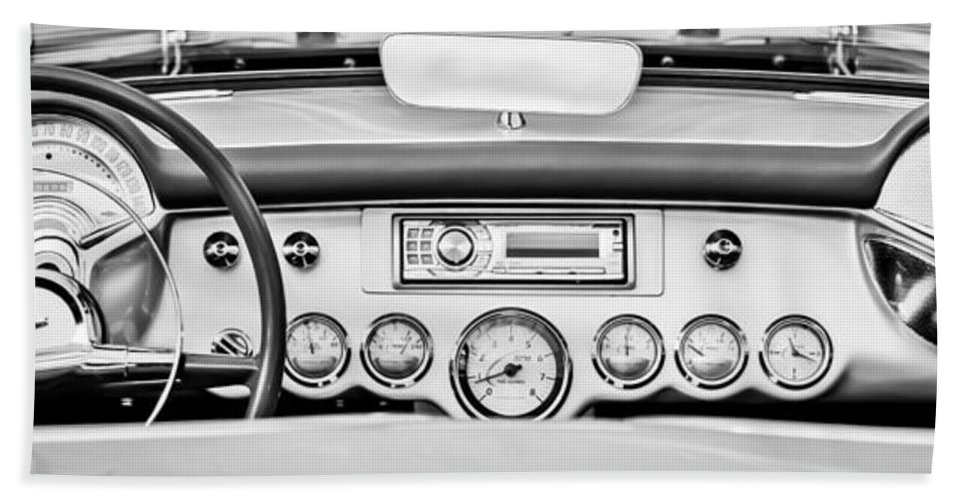 1954 Chevrolet Corvette Dashboard Hand Towel featuring the photograph 1954 Chevrolet Corvette Dashboard by Jill Reger