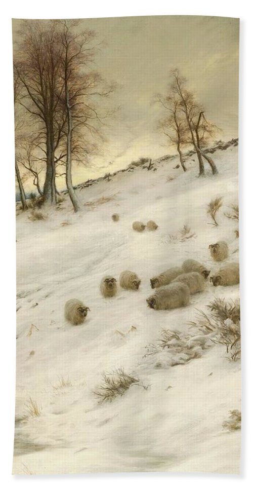 A Flock Of Sheep In A Snowstorm Bath Sheet featuring the painting A Flock Of Sheep In A Snowstorm by Joseph Farquharson