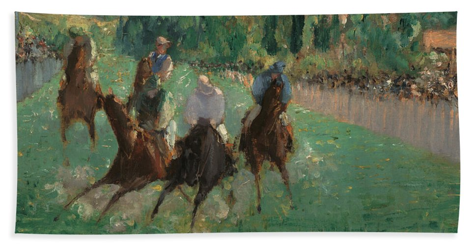 Europe Bath Sheet featuring the painting At The Races by Edouard Manet