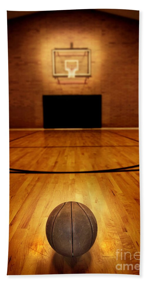 In Hand Towel featuring the photograph Basketball And Basketball Court by Lane Erickson