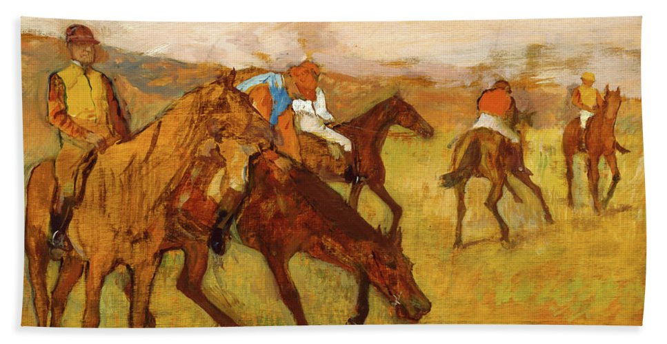 Degas Bath Towel featuring the painting Before The Race 1882-1884 By Edgar Degas by Art Anthology