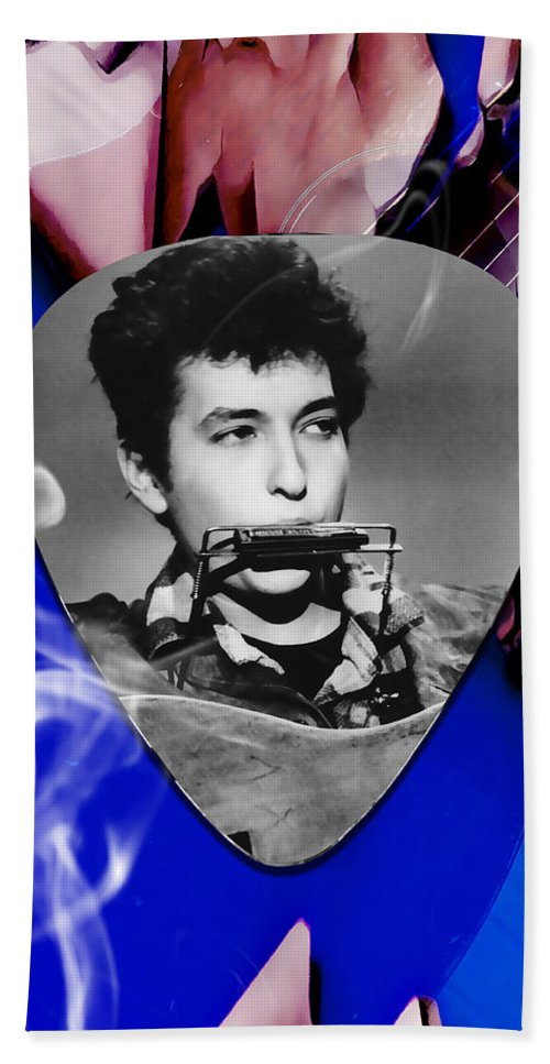 Bob Dylan Art Bath Towel featuring the mixed media Bob Dylan Art by Marvin Blaine