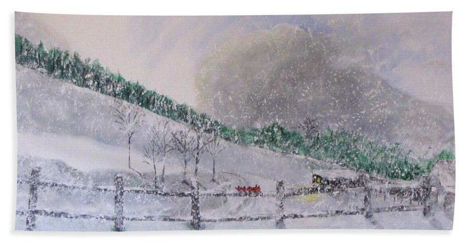 Snow Bath Towel featuring the painting 5 Card Stud by Gary Smith