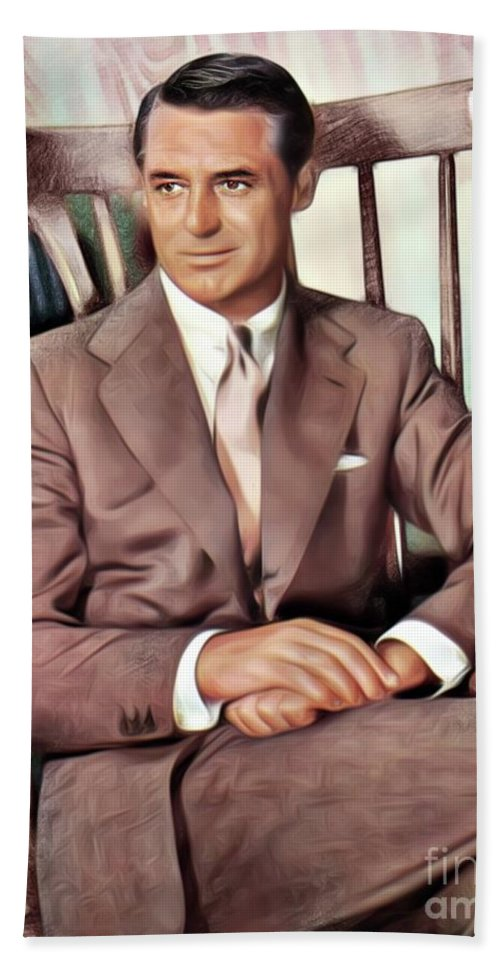Cary Bath Sheet featuring the digital art Cary Grant, Vintage Actor by Mary Bassett