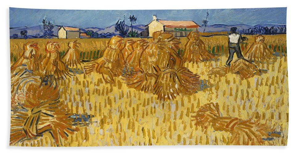 Country Hand Towel featuring the painting Corn Harvest In Provence by Vincent van Gogh