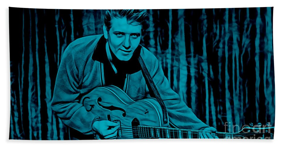 Eddie Cochran Hand Towel featuring the mixed media Eddie Cochran Collection by Marvin Blaine
