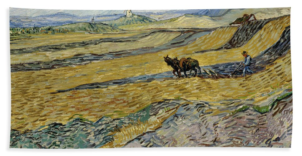 Vincent Van Gogh Bath Sheet featuring the painting Enclosed Field With Ploughman by Vincent van Gogh