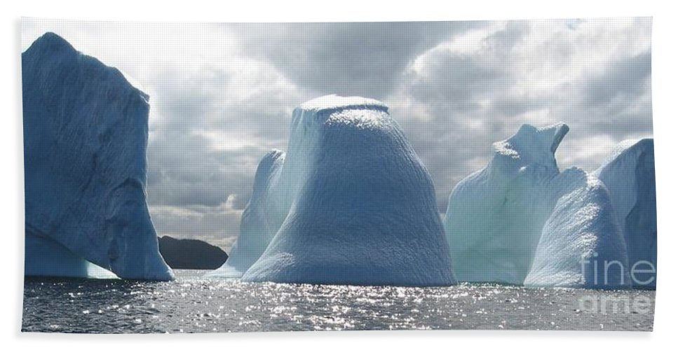 Iceberg Photograph Ice Water Ocean Altantic Newfoundland Summer Hand Towel featuring the photograph Iceberg by Seon-Jeong Kim