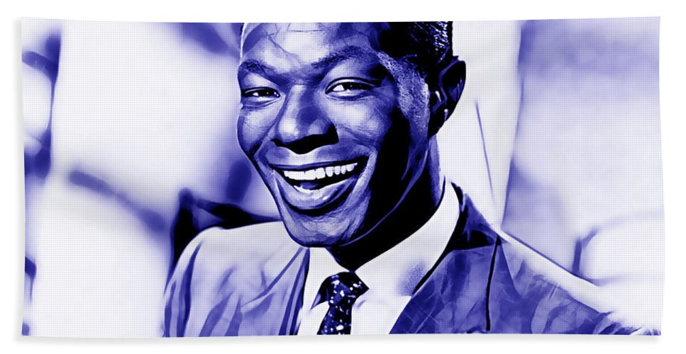 Nat King Cole Hand Towel featuring the mixed media Nat King Cole Collection by Marvin Blaine