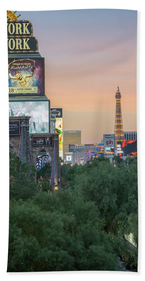 Tower Bath Sheet featuring the photograph november 2017 Las Vegas, Nevada - evening shot of eiffel tower a by Alex Grichenko