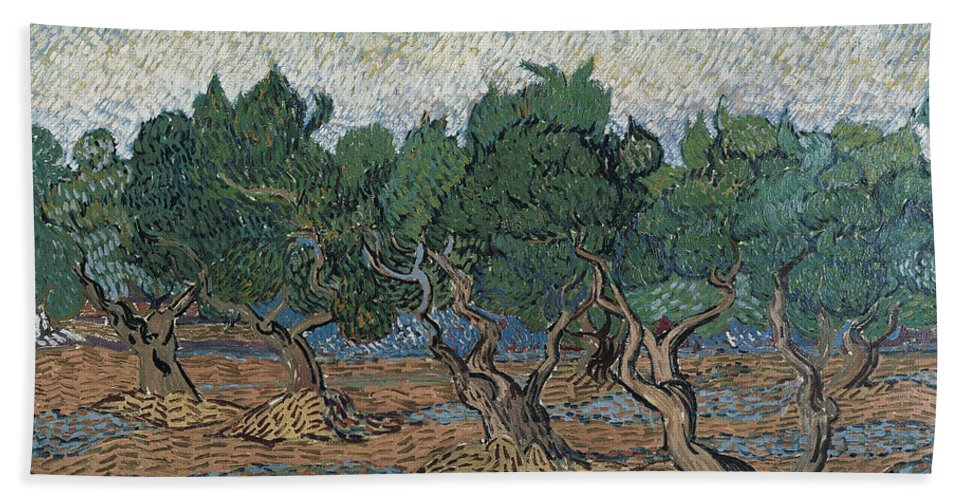 Dutch Hand Towel featuring the painting Olive Grove by Vincent van Gogh