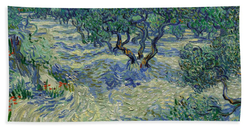 Dutch Hand Towel featuring the painting Olive Orchard by Vincent van Gogh