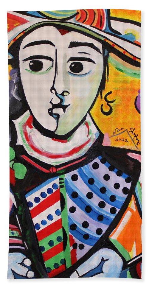 Picasso By Nora Bath Sheet featuring the painting Picasso By Nora by Nora Shepley