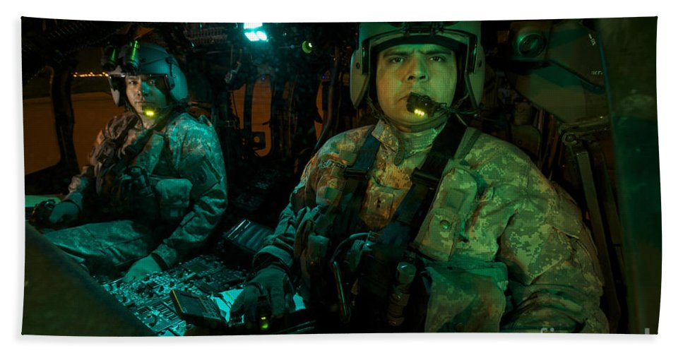 Exercise Angel Thunder Bath Sheet featuring the photograph Pilots Sitting In The Cockpit by Terry Moore