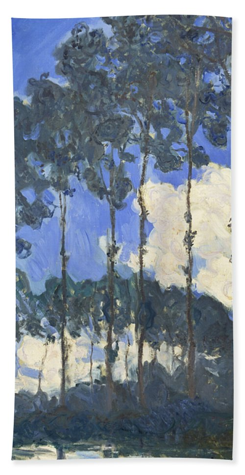 Claude Monet Hand Towel featuring the painting Poplars On The Epte by Claude Monet