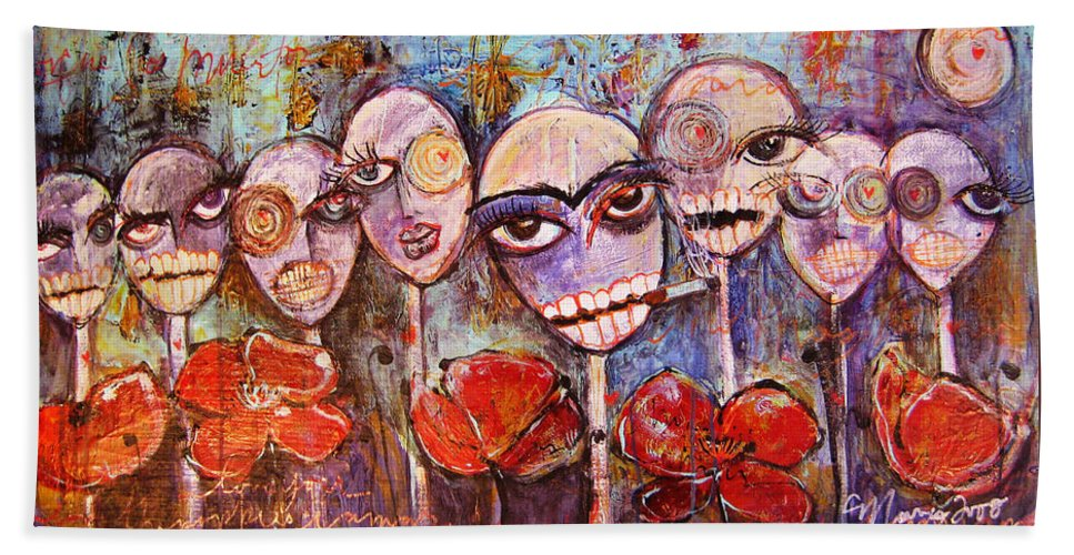 Dia De Los Muertos Bath Towel featuring the painting 5 Poppies For The Dead by Laurie Maves ART