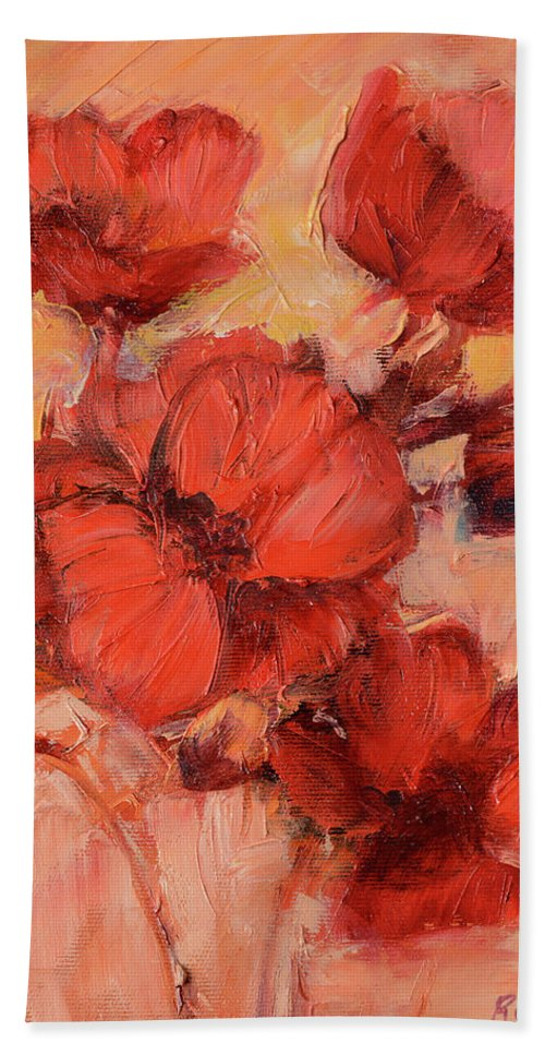 Isolated Bath Sheet featuring the painting Poppy Flowers Handmade Oil Painting On Canvas by Roman Ben