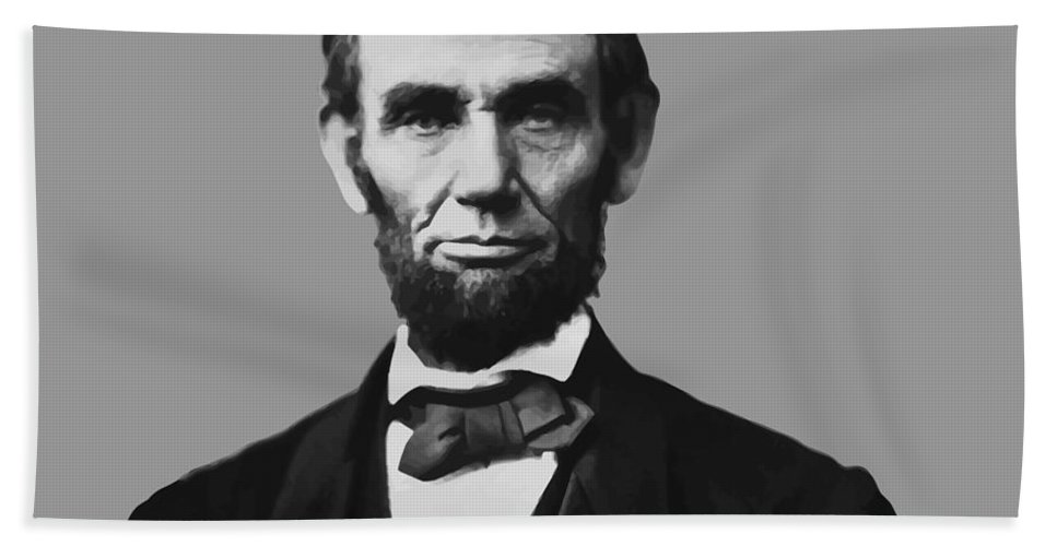 Abraham Lincoln Bath Towel featuring the mixed media President Lincoln by War Is Hell Store