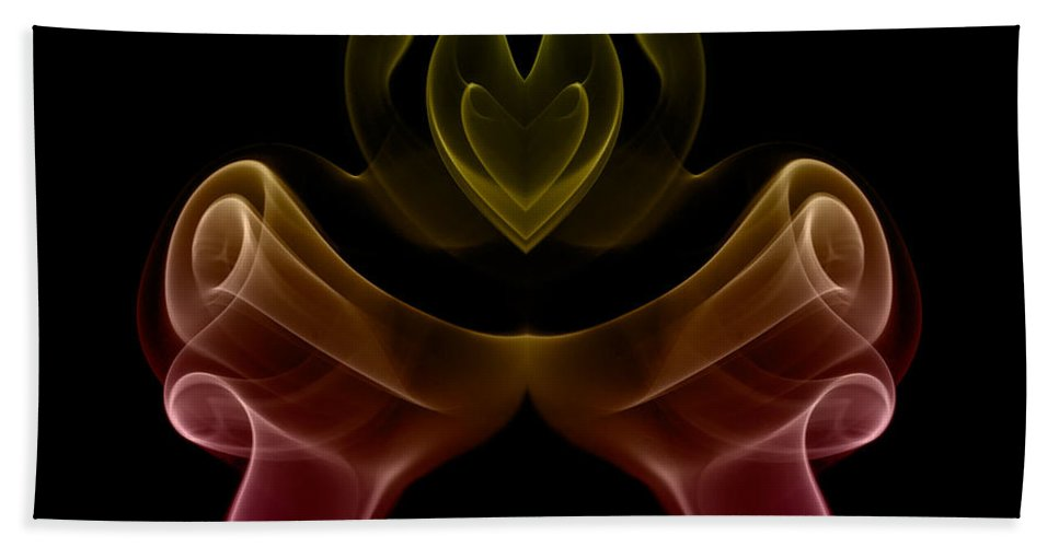 Abstract Hand Towel featuring the photograph smoke XIX by Joerg Lingnau