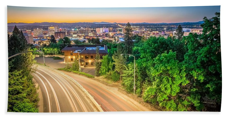 Panorama Bath Sheet featuring the photograph Spokane Washington City Skyline And Streets by Alex Grichenko