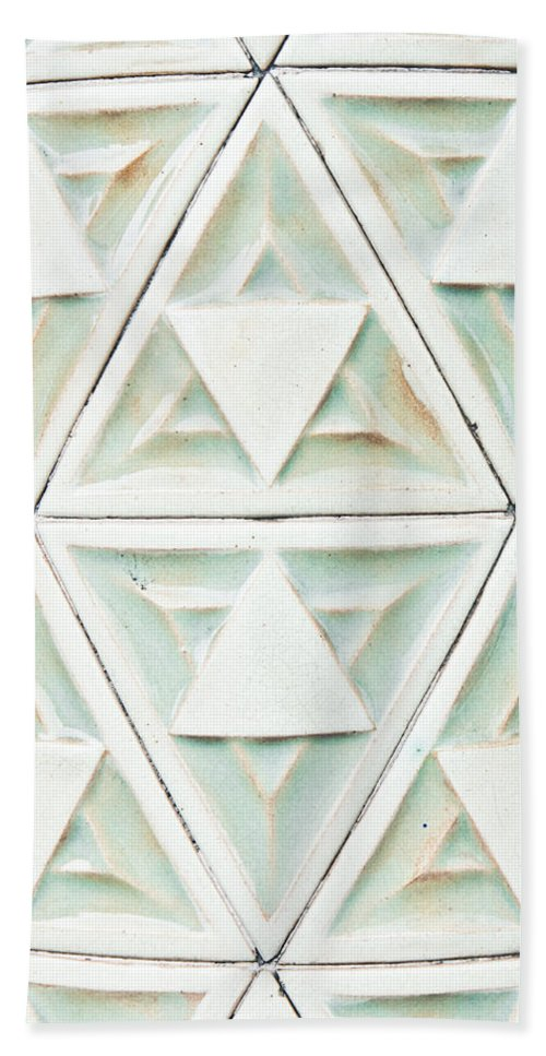 Abstract Bath Sheet featuring the photograph Stone Pattern by Tom Gowanlock