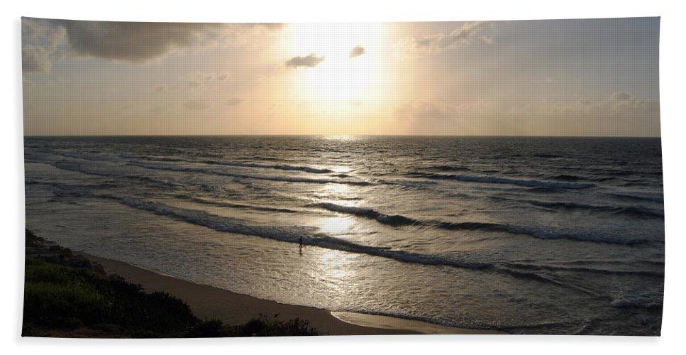 Beach Bath Towel featuring the photograph Sunset At Jaffa Beach 12 by Isam Awad