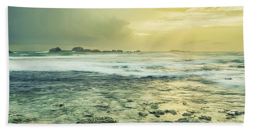 Panorama Bath Sheet featuring the photograph Sunset Over The Sea by MotHaiBaPhoto Prints