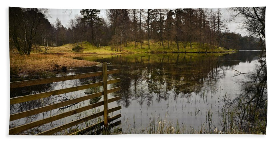 Tarn Hows Hand Towel featuring the photograph Tarn Hows by Smart Aviation