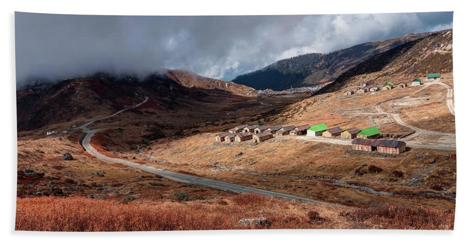 India Bath Sheet featuring the photograph Top View Of Kupup Valley, Sikkim, Himalayan Mountain Range by Rudra Narayan Mitra