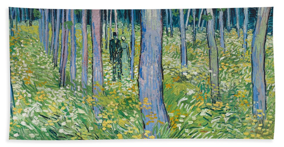 Dutch Hand Towel featuring the painting Undergrowth With Two Figures by Vincent van Gogh