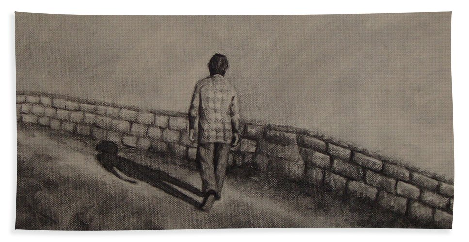 Charcoal Bath Sheet featuring the drawing Untitled by Ioulia Sotiriou