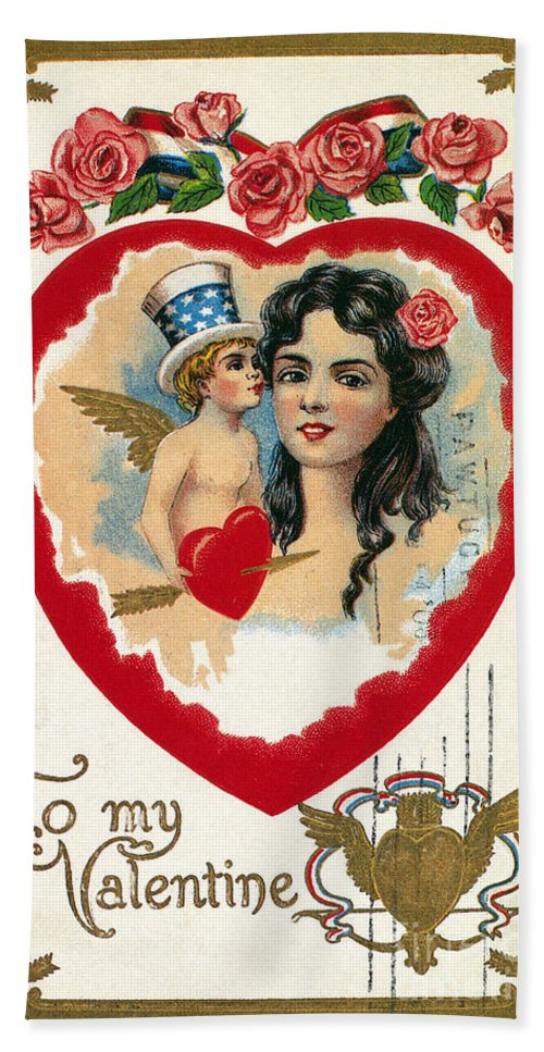 1908 Hand Towel featuring the photograph Valentines Day Card by Granger