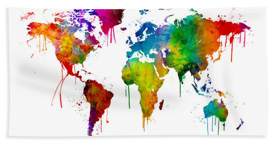 Watercolor Map Of The World Map Bath Towel for Sale by Michael Tompsett