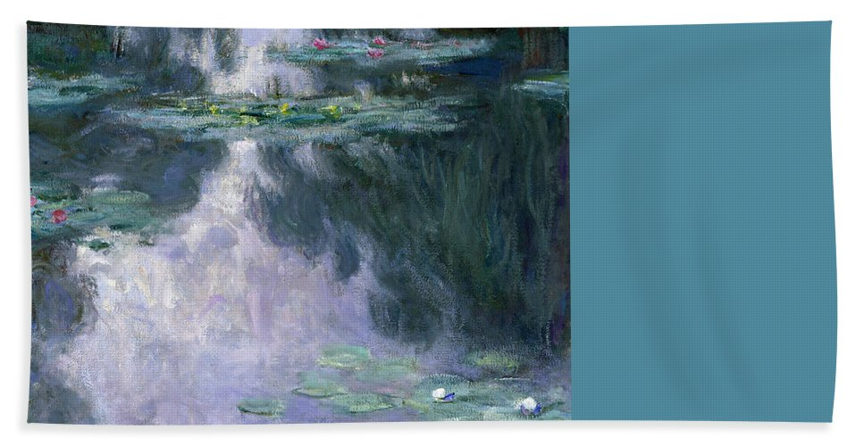 Nympheas Bath Towel featuring the painting Waterlilies by Claude Monet